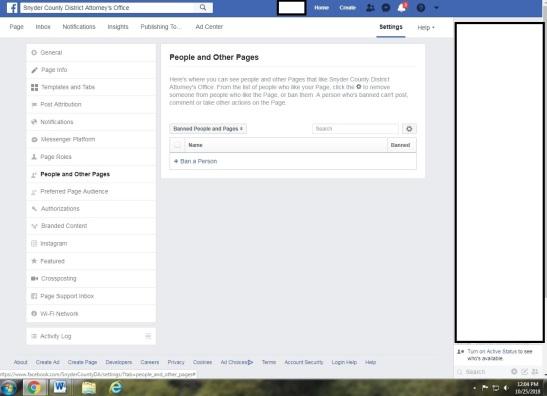 screenshot of FB banned accounts_Oct 25 2018
